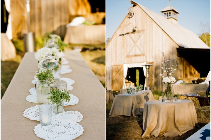 venue + doily's as the table runner.