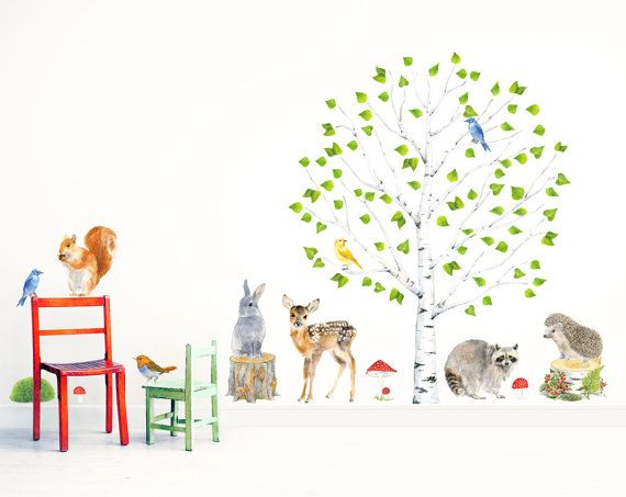 Birch Tree + Forest Animals Wall Decal ( removable self-adhesive fabric wall sticker )