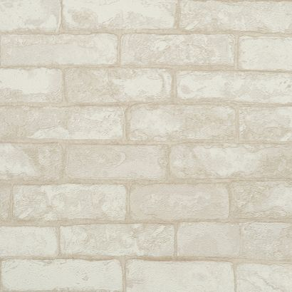 Grey Cream Brick Wallpaper Texture Heavy Duty Washable