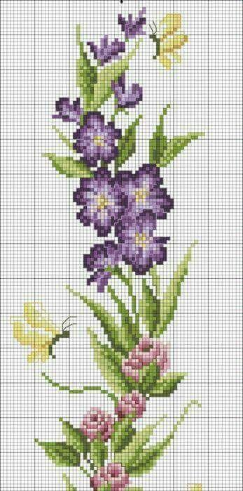 Change the butterflies to honeybees. Cross stitch purple flowers.