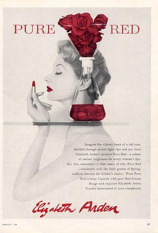 ELIZABETH ARDEN 1950s   Pure Red Lipstick   #vintage #beauty #advertising
