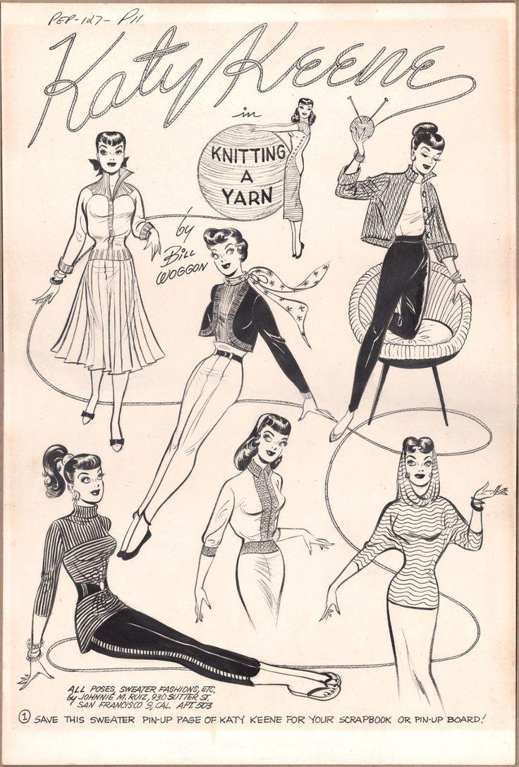 Оригинальные художественные Билл woggon pin-up всплеск pg katy keene от pep #127 Арчи 1958   eBay