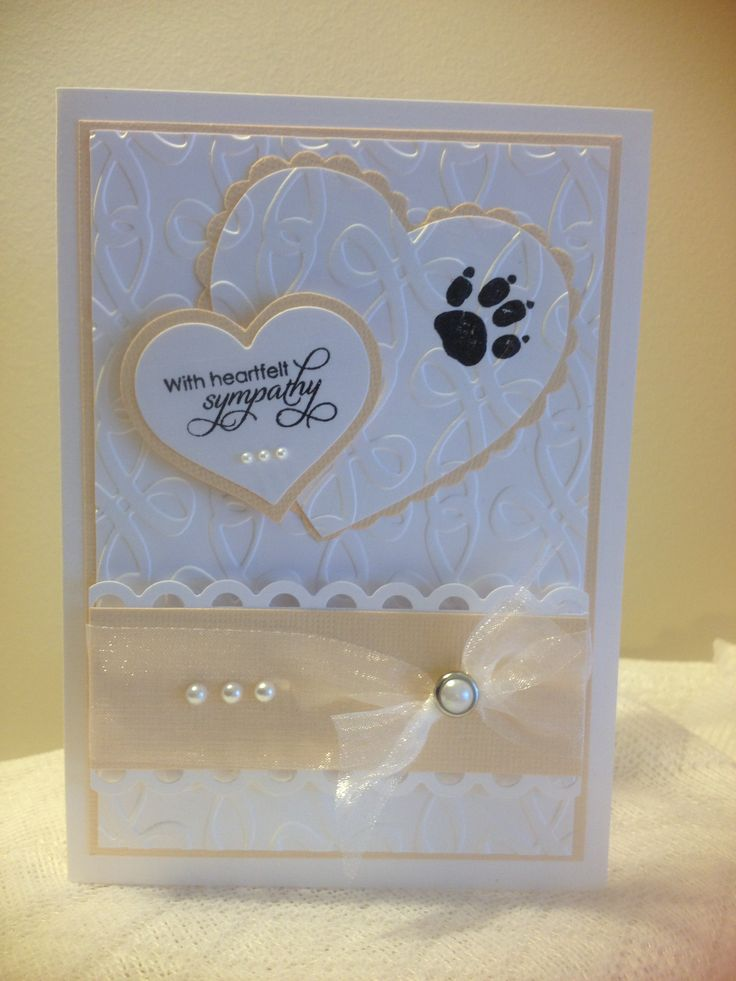 Dog Sympathy Card; emboss 1st layer and punched heart with paw stamp (or punched out paw)