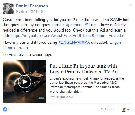 Screenshot from one of our #EngenPrimax influencers. #InfluencerMarketing #WOMM #UGC #addSALT