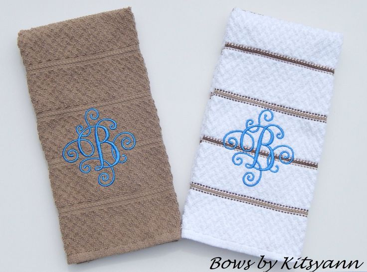 Monogrammed Dish Towels, Personalized Dish Towels, Set of Dish Towels by bowsbykitsyann on Etsy