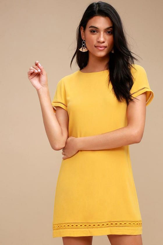 631c46372f2145 The Perfect Time Mustard Yellow Shift Dress is always a great idea!