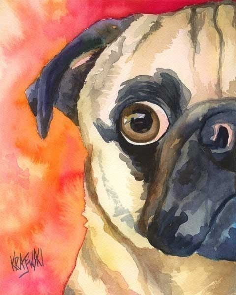 Pug Dog Art Print of Original Watercolor Painting by dogartstudio