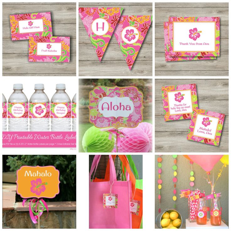 Luau Party Kit with Editable Text, DIY Pink Luau Pool Party Kit, Printable Luau Party with Editable Text, DIY Hawaiian Luau Party Printables by Punkyprep on Etsy https://www.etsy.com/listing/189216683/luau-party-kit-with-editable-text-diy