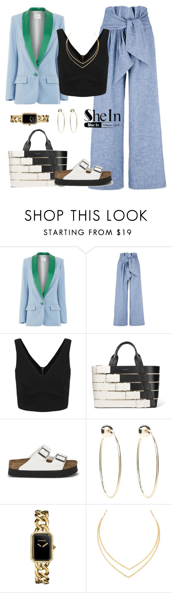 """""""Casual"""" by yinggao ❤ liked on Polyvore featuring Racil, MSGM, Balenciaga, Birkenstock, Bebe, Chanel, Lana, Sheinside, casualoutfit and shein"""