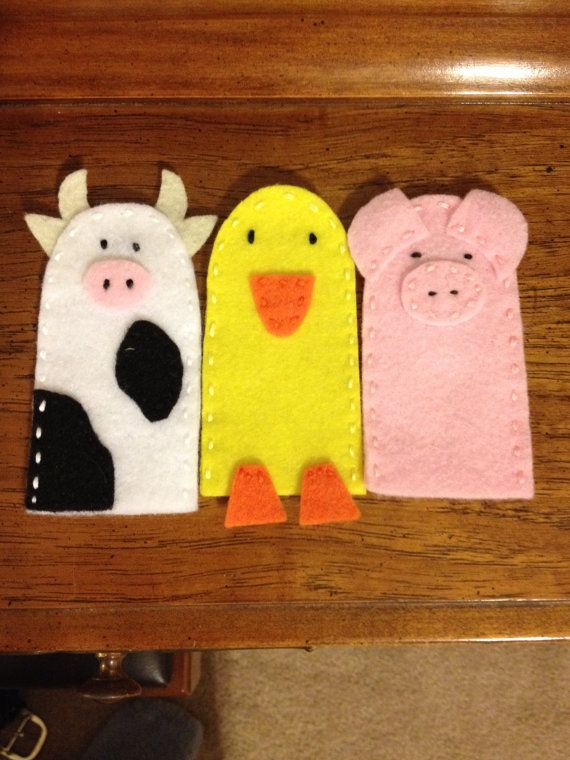 Cow Duck and Pig Felt Finger Puppets Farm by littleshopoffelt   Check out these and my other creations in my etsy shop at www.etsy.com/shop/littleshopoffelt
