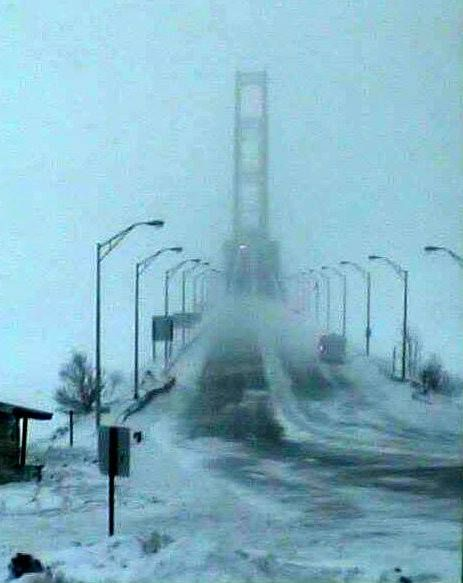 Mackinac Bridge on Sunday Jan 19, 2014, high wind warnings ---cross at your own risk.