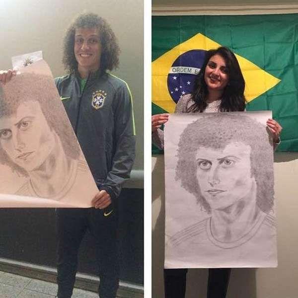 David Luiz ganha autorretrato especial de torcedora chilena em Temuco
