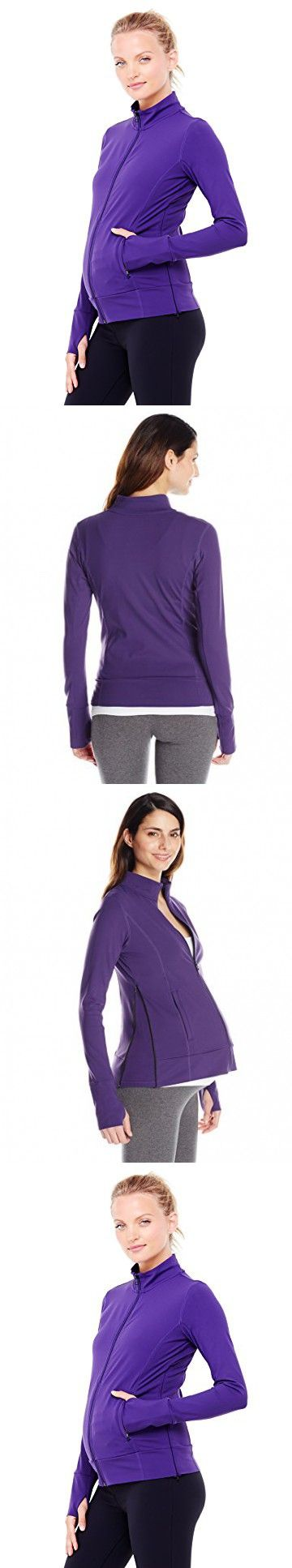 Ingrid & Isabel Women's Maternity Side Zip Active Jacket, Royal Purple, Small