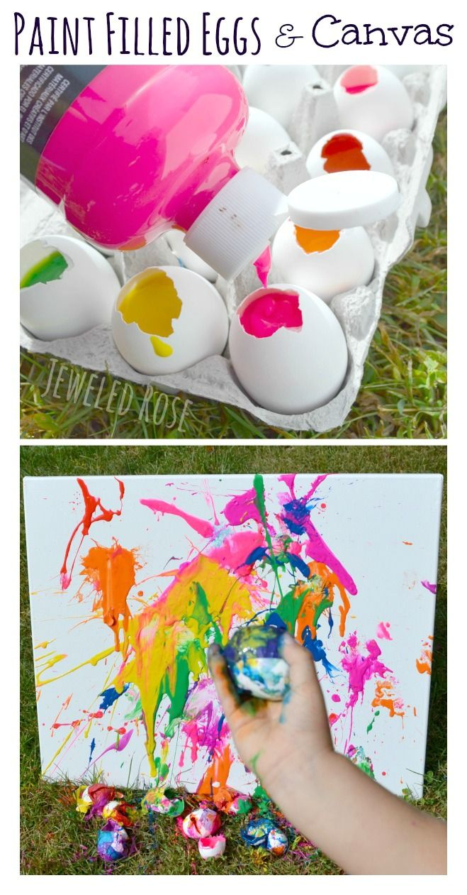 Tossing paint filled eggs at canvas-