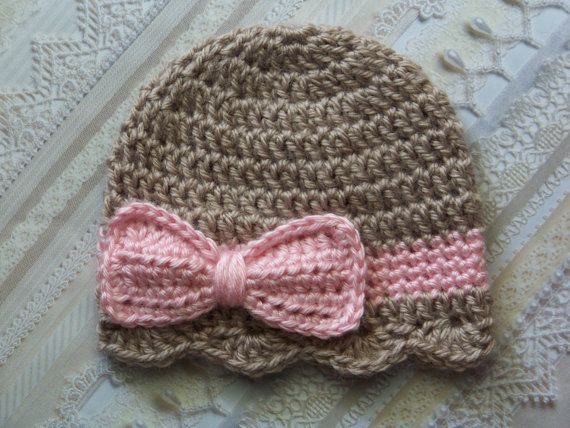 Crochet Baby Hat, Newborn Baby Girl hat, Baby Girl Bow Hat, Infant Bow Hat,Newborn Baby Bow Hat, Taupe, Pink, Gift on Etsy, $14.00