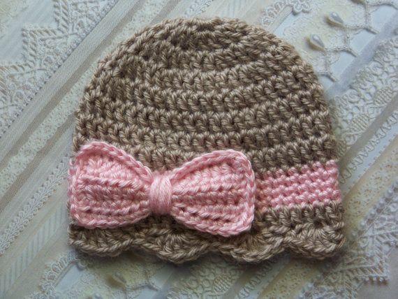 Sombrero del ganchillo del sombrero del bebé, bebé recién nacido, bebé niña arco sombrero, sombrero de arco infantil, recién nacido bebé sombrero arco, Taupe, Pink, regalo