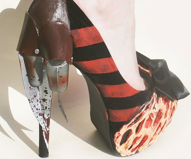 Pay homage to one of the greatest horror movie villains of all time with these boldly styled Freddy Krueger high heels. Every one of Freddy's trademark characteristics are displayed beautifully, from his iconic striped shirt to razor sharp claws.