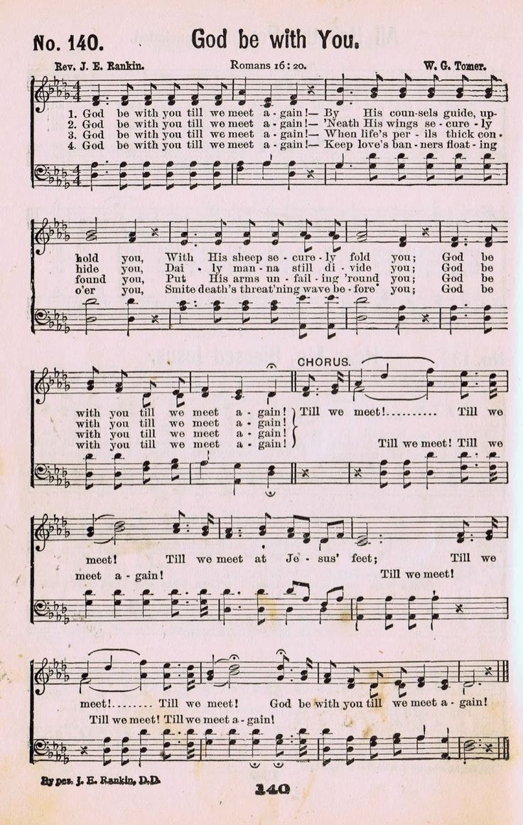 God Be With You - Antique Hymn Book Page