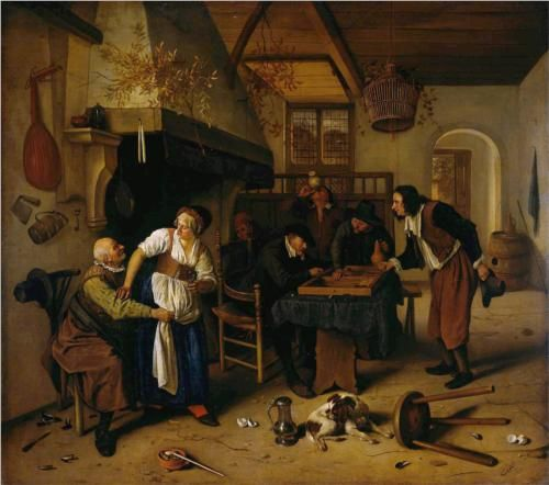 In the Tavern / Jan Steen 1600s.   Same as it ever was.  The dog has an itch and are those cracked eggs on the floor? Jan Steen had a sense of humor I think.