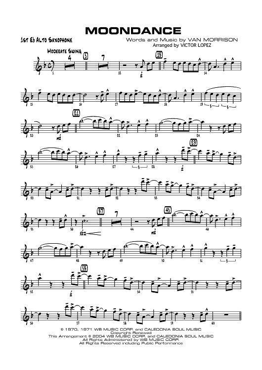 Moondance - E-flat Alto Saxophone 1 Sheet Music Preview Page 1