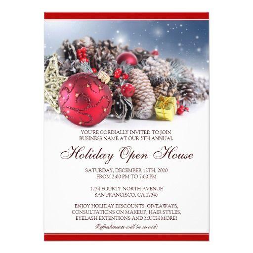 festive christmas  u0026 holiday open house invitations