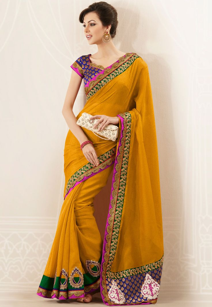 Dark Mustard Art Jute Silk Saree with Blouse: SFR14