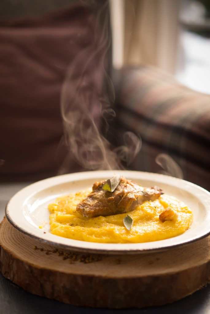 Baked ham with sage garlic and mustard plus aromatic polenta with sheeps' cheese