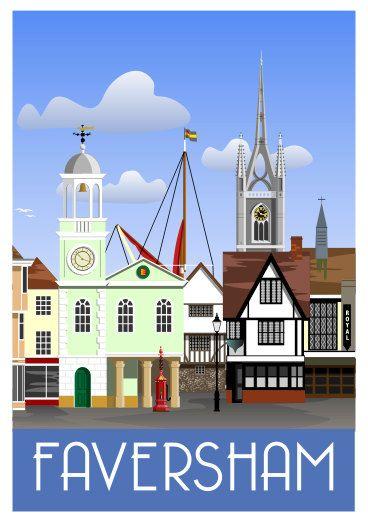 FAVERSHAM. Art print Travel/Railway Poster of Faversham town