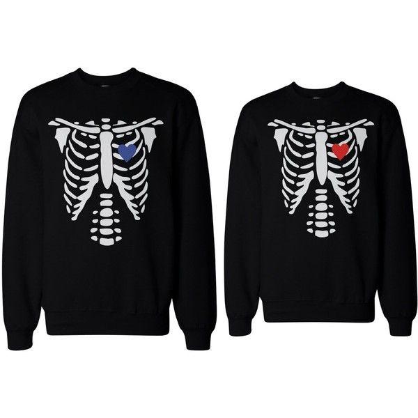 Skeleton Couple Sweatshirts Halloween Matching Sweaters Fleece for... ($49) ❤ liked on Polyvore featuring tops, hoodies, sweatshirts, black sweat shirt, black sweatshirt, skeleton top, fleece sweat shirts and skeleton sweatshirt