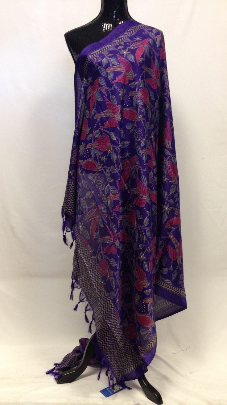 Semi Tussar Silk Madhubani Printed Dupatta - Violet