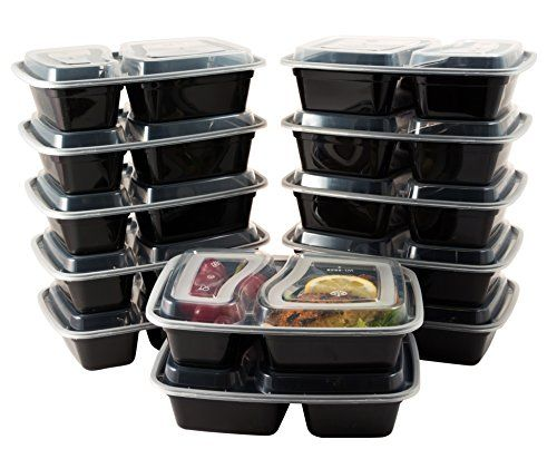 Bento Lunch Boxes with Lids - 2 Compartment Microwave, Freezer and Dishwasher Safe Food Storage and Meal Prep Containers - Stackable, BPA Free, 12 Pack - by HomEquip  ECONOMICAL LUNCH SOLUTION: Forget costly takeout & enjoy home cooked leftovers. Use one container to store and cook - these containers are safe to be frozen, and then reheated in the microwave.  REUSABLE OR DISPOSABLE: The leak proof containers are high enough quality and dishwasher safe to be reused, or just throw them o...