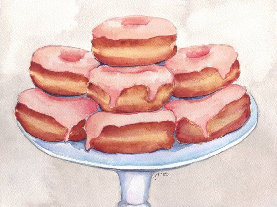 Watercolor Painting Pink Donuts on a Stand - 8x10 Print - Doughnuts Food Illustration on Etsy, $18.00