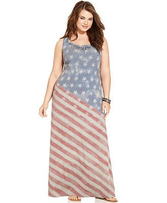 Style&co. Plus Size Sleeveless Flag-Print Maxi Dress   My daughters ...