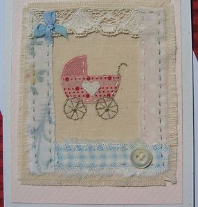 Hand-stitched CHRISTENING or NEW BABY GIRL card designed/made by Helen Drewett | eBay