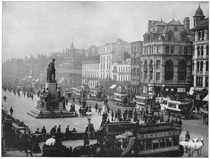 Piccadilly Street, which is one of the principal thoroughfares. This avenue is bordered by magnificent shops, and always crowded with pedestrians, omnibuses and other vehicles. The statue in the centre is that of the Duke of Wellington. Piccadilly has a very animated appearance.