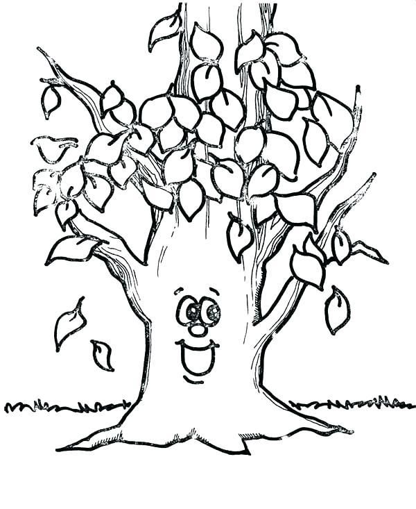 Coloring Big Leaves Coloring Pages Fall Leaf Happy Tree Page Free Desenhos Para Colorir Colorir Outono