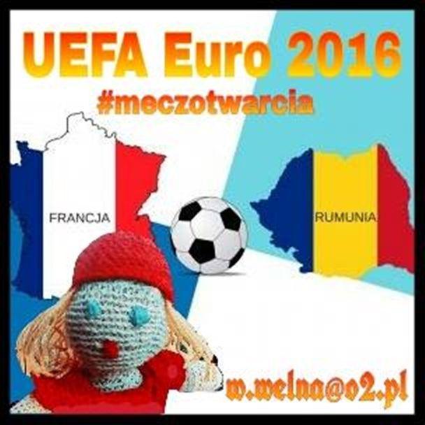 Zapraszamy na mecz otwarcia Mistrzostw Europy UEFA Euro 2016 :)    #EURO2016 #MeczOtwarcia #UEFA #Paryż #Francja #Rumunia #FrancjaRumunia #ŁączyNasPiłka #Piłka #Handmade #Wełna #Rękodzięło #Crochet #RedHood