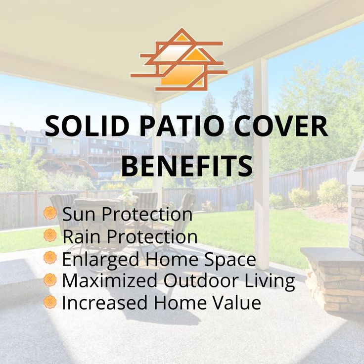 A solid patio cover is an excellent sun protection option