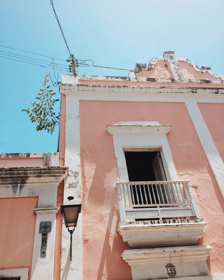 Pink buildings and blue skies