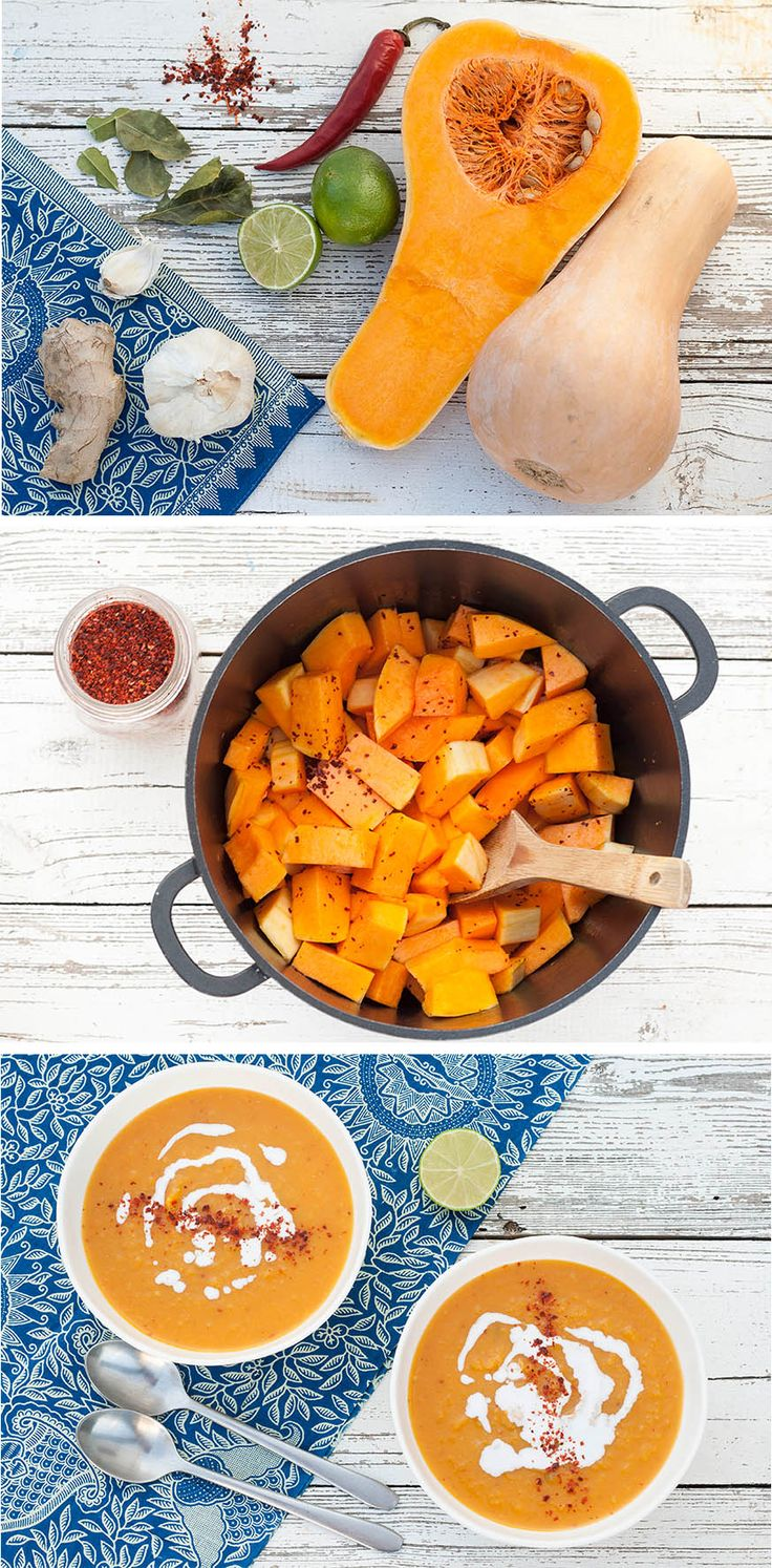 Thai-inspired butternut squash soup, perfect for chilly autumn and winter evenings. #vegan #vegetarian #healthy