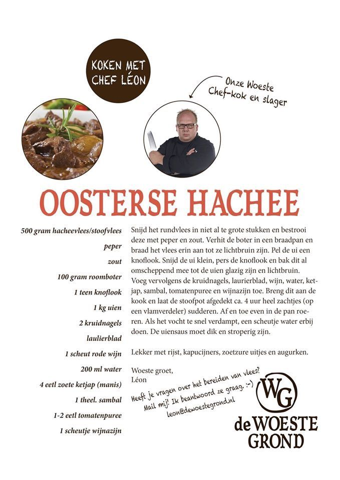 Woeste grond vlees van natuurlijk grazende rund/varken/schaap en pluimvee~recept hachee~