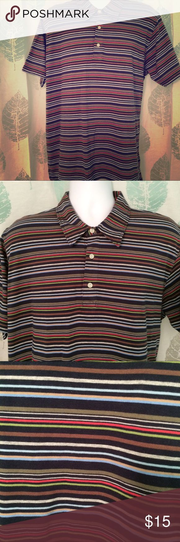 J CREW Mens L multicolor striped polo shirt Very nice polo for men  Size L  Vibrant multicolored stripes  Matches almost anything!  Cotton  Excellent condition J. Crew Shirts Polos
