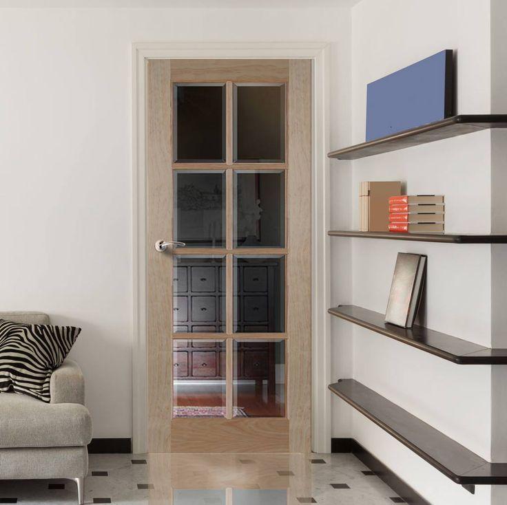 8 Light Radiata Pine Door with Bevelled Clear Safety Glass & 36 best Internal Pine Glazed Doors images on Pinterest   Glazed ... Pezcame.Com