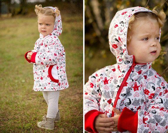 PUPERITA -- TIGER Hoodie Boy Girl Jacket pattern Pdf sewing pattern, Easy Fleece, children toddler kids, 3 4 5 6 7 8 9 10 Instant Download