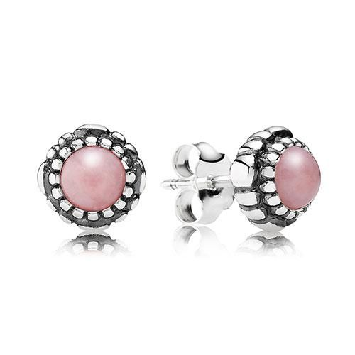 Pandora Silver Pink Opal Studs, October Birthstone Studs. Part of the Pandora Autumn Winter 2013 Nostalgic Memories range. The past is made of memories, of great journeys, discoveries, and the bonds of love.