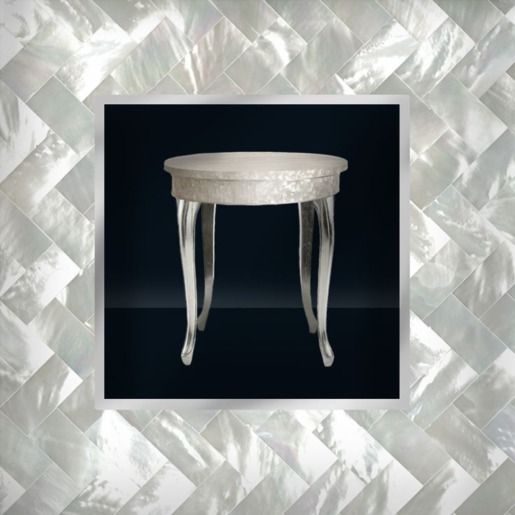 Luxe Accent Table made of Mother of Pear Inlay and Silver Leaf Cabriole Legs - Designed for Thomas & George Fine Furniture