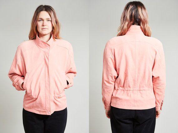 1980s Boutique Soft Bubblegum Pink Suede Western Coat • S