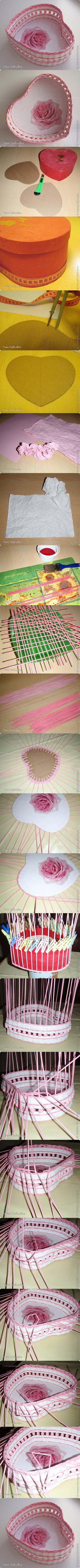 DIY Woven Paper Heart Shaped Basket | iCreativeIdeas.com Like Us on Facebook ==> https://www.facebook.com/icreativeideas
