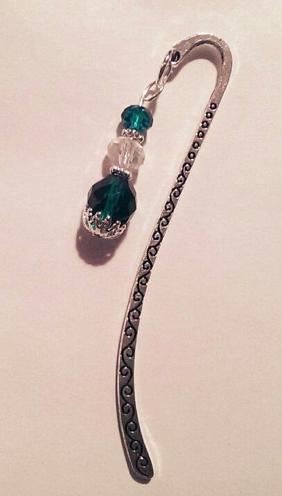 Emerald and clear crystal bookmark