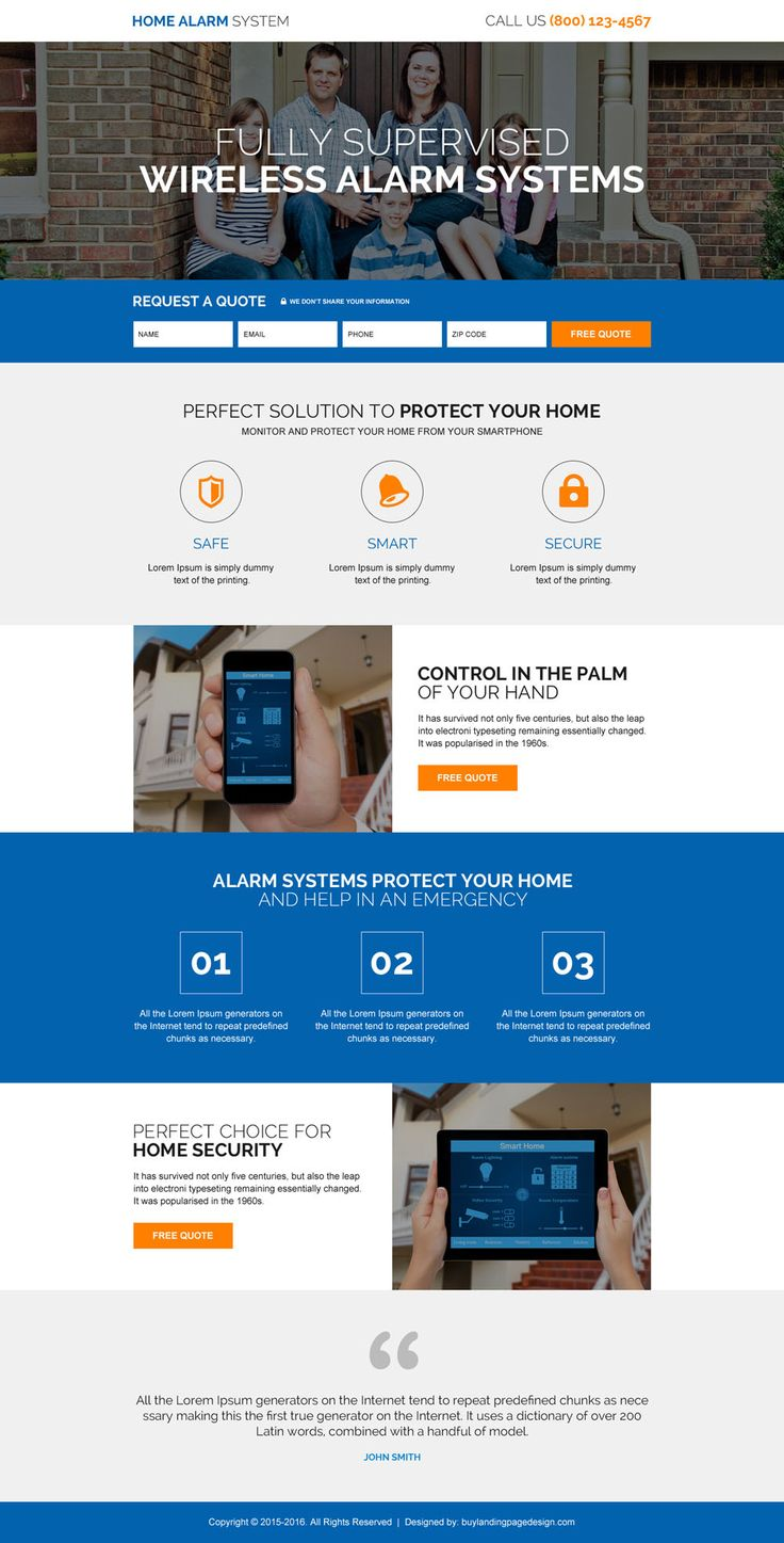Home Alarm Security System High Quality Lead Capturing Landing Page Part 45